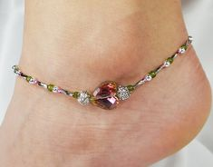 Anklet, Ankle Bracelet Watermelon Pink Green Crystal Heart, Antique Silver, Czech Glass, Beaded, Resort, Vacation Beach, Cruise