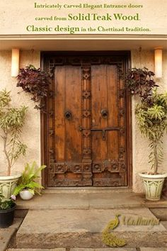Splendid Chettinad Heritage entrance doors with heavy carvings along the edges and the base. Antique latch and hello-strikers giving the completeness to its form.  For more in Suvasini, our collection of traditional furniture, visit : http://www.madhurya.com/home-and-living.html