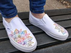 As we gear up for our summer collection, these custom vans are unique and quite beautiful. Growing up I've always loved mandala's. The pattern is what moves me.The colors are based from the Holi NMD Human races. I love the look of the dye hitt. Custom Vans Shoes, Mens Vans Shoes, Custom Sneakers, Slip On Sneakers, Vans Men, Golf Shoes, Custom Slip On Vans, Painted Vans, Custom Painted Shoes