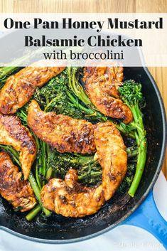One Pan Honey Mustard Balsamic Chicken and Broccolini - Slender Kitchen
