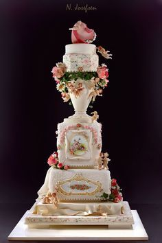 Amazing rose vase cake with flowers, hearts, cherubs, etc. Beautiful Wedding Cakes, Gorgeous Cakes, Pretty Cakes, Amazing Cakes, Cake Wedding, Unique Cakes, Elegant Cakes, Creative Cakes, Chocolates
