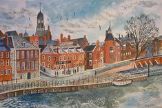 """commonorgarden: """" """"River Ouse, York by Emily Sutton """" I am feeling for York today. I know the shock well when the river you live next to and observe every day suddenly invades your streets and homes. Paper Installation, The English Patient, Museum Of Childhood, Unusual Buildings, Naive Art, Art For Art Sake, Watercolor Illustration, Travel Posters, Contemporary Artists"""