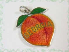 Georgia Peach - Sterling Silver - Peach Guilloche Enamel Charm For Bracelet or Pendant Necklace - GA Estate Antique - Mint - FREE SHIPPING by FindMeTreasures on Etsy