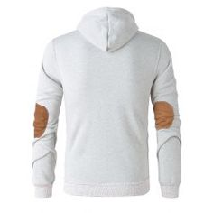 9e192db98e12 Elbow Patch Long Sleeve Drawstring Pullover Hoodie