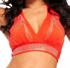 Swirl Studded Halter Top - RED