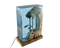 Resin Lamp, Resin and Wood Lamp, Resin Whale Decor, Resin And Wood Nightlight, Decorative Whale Resin Sculpture Cement Crafts, Diy Resin Crafts, Art Studio Room, Whale Decor, Epoxy Resin Wood, Resin Furniture, Resin Sculpture, Miniature Bottles, Resin Artwork