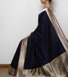 Navy blue Silk Handwoven Saree