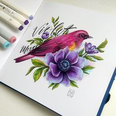 Ideas bird sketch pencil to draw Copic Marker Art, Copic Art, Sketch Markers, Bird Drawings, Cute Drawings, Pencil Drawings, Flower Vases, Flower Art, Painting & Drawing