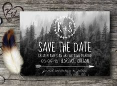 PRINTABLE Save The Date Wedding Announcement Wanderlust Oregon Forest Boho Chic Invitation Invite bohemian gypsy soul destination woodland