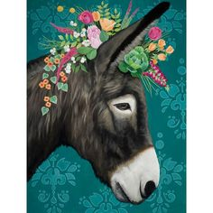 Bungalow Rose 'Sweet Donkey' Graphic Art Print Size: H x W x D, Format: Stretched Canvas Goat Paintings, Pink Wall Art, Arte Popular, Whimsical Art, Farm Animals, Canvas Wall Art, Framed Canvas, Watercolor Art, Graphic Art