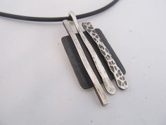 Funky hand forged pendant - hand cut, hammered, and oxidized sterling silver pendant necklace
