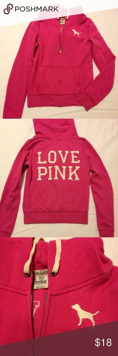 PINK Victoria's Secret hoodie small Pre loved condition hoodie, slight pilling and small stain at end of sleeve. Not very noticeable. 60% cotton 40% polyester. PINK Victoria's Secret Jackets & Coats