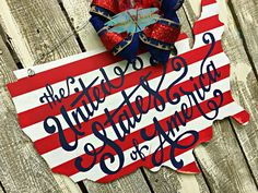 United States of America Door Hanger, Patriotic Door Sign, USA Door Hanger, 4th of July, Memorial Day, Patriotic Door Hanger, United States Door Signs, Wall Signs, Spin, Wood Cutouts, Party Props, God Bless America, Paint Party, Porch Decorating, Yard Art