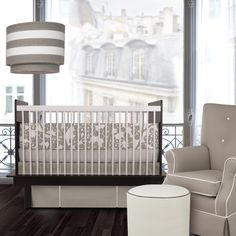 Oilo Modern Berries Motif Three Piece Crib Set in Taupe