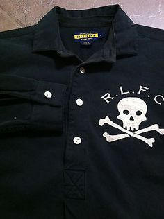 a48bf33dc Men s RALPH LAUREN LS Black Denim Feel Rugby Shirt + Large Skull Crossbones  - M Black