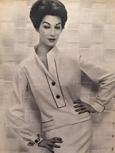Pierre Balmain- 1957 White jersey, with blue braided trim, standing collar blouse and skirt ensemble. Elle Collections Printemps March 4, 1957