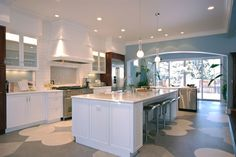 Houzz.com: Opt for flooring that requires just damp mopping and that has no grout lines, such as Marmoleum, linoleum or sheet vinyl. Although hardwood is easy to clean with a dust mop or a damp mop, you must immediately wipe up any spills or splatters, so you'll find yourself wiping up more often.