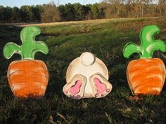 Wooden Bunny Bottom & 2 Carrots Spring Lawn and Garden Decoration is part of Wooden Easter crafts - 4 tall by 15 inches wide Can be personalized with names or your favorite phrase Comes with metal stakes for easy decorating NO SHIPPING CHARGE on this item Easter Arts And Crafts, Easter Projects, Spring Crafts, Easter Ideas, Diy Projects, Easter Garden, Spring Garden, Hoppy Easter, Easter Bunny