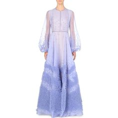 ROKSANDA Textured silk-organza gown (186.498.995 IDR) ❤ liked on Polyvore featuring dresses, gowns, lavendar, peasant dress, sheer sleeve dress, purple gown, long sleeve evening gowns and long purple dress