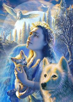 Help to save the wolves or we may lose them again. Visit www.projectwolf.org   ADRIAN CHESTERMAN...queen of nature...#fantasy #wolves #owl #blue/white #art