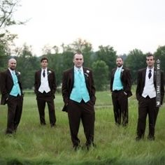 Color Inspiration: Malibu blue or Turquoise Vests w/ tie and Brown Suits are the colors for our groomsmen   VIA #WEDDINGPINS.NET