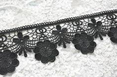 Black Venice Lace Trim Flower Lace Hollowed Out Trim by Lacebeauty, $4.99