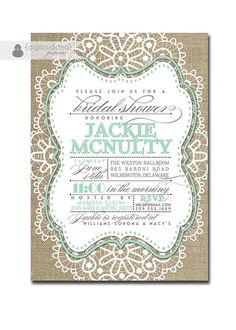 Lace Bridal Shower Invitation Linen Burlap Mint Vintage Rustic Wedding Invite Typography Poster Printable Digital or Printed - Jackie Style via Etsy