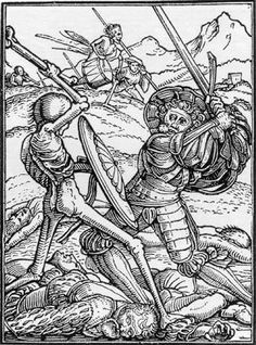 The Soldier, Hans Holbein the Younger, from his Dance of Death 41 woodcuts Medieval Art, Renaissance Art, Memento Mori, La Danse Macabre, Hans Holbein The Younger, Woodcut Art, Dance Of Death, Landsknecht, Skeleton Art