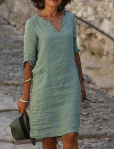 Long Sleeve Midi Dress, Maxi Dress With Sleeves, V Neck Dress, Half Sleeves, Half Sleeve Dresses, Short Sleeves, Vestidos Color Azul, Floryday Vestidos, Vestido Casual