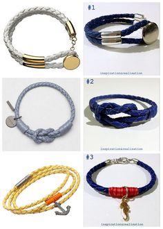 DIY: Three Braided Nappa Leather Cord Bracelets.All three bracelets are made with round braided nappa leather cord