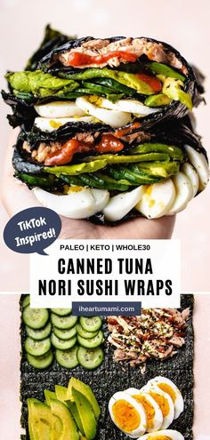 TikTok-inspired Nori Wraps with canned tuna are a fun way to make sushi! Pick-and-choose what goes into the sushi wraps for lunch in minutes! #sushi #nori #seaweed #lowcarb #keto #Whole30 #cannedtuna #tuna #seafood #lunch #snack Paleo Lunch Box, Lunch Snacks, Lunch Recipes, Paleo Recipes, Asian Recipes, Real Food Recipes, Summer Recipes, Yummy Lunch, Paleo Meals