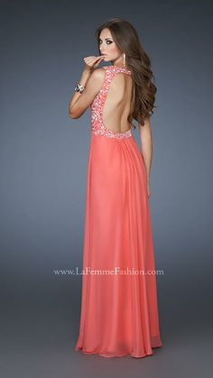 {La Femme 18438 | La Femme Fashion 2013} - La Femme Prom Dresses - Dancing with the Stars - Beaded Straps - Chiffon - Limited Edition - Open Back - Ruching - Sweetheart Neckline - Long Prom - Homecoming - Jewels - Bedazzled