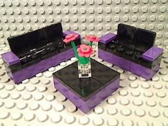 LEGO Black Purple SOFA LOVE SEAT COFFEE TABLE Furniture Couch House Living Room | eBay