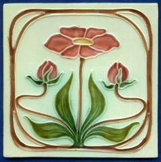 Jugendstil Fliese Kachel, Art Nouveau Tile Tegel, Schmider, Blume rot red Flower in Antiquitäten & Kunst, Porzellan & Keramik, Keramik | eBay!