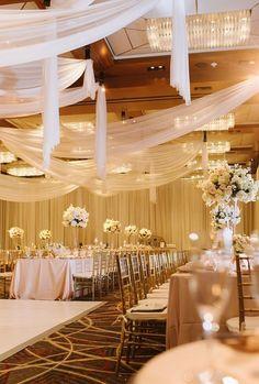 Gold and White Ballroom Wedding Reception