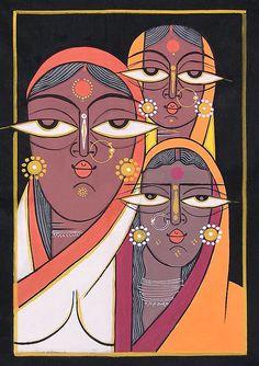 Three Vaishnavis - Krishna Devotees - Folk Art Paintings (Jamini Roy Painting Reproduction on Cloth - Unframed) Pichwai Paintings, Indian Art Paintings, Mural Painting, Painting Tips, Abstract Paintings, Watercolor Painting, Madhubani Art, Madhubani Painting, Indian Folk Art