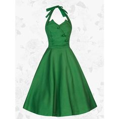 1950s Vintage Hlater Green A-line Buttons Dreen ($49) ❤ liked on Polyvore featuring tops, a line tops, green top, vintage tops and button tops