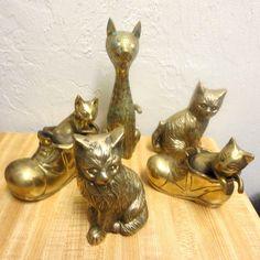 Vintage Brass Cat Kitty Figurine Statue Family of 5 Lot | eBay