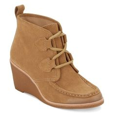 Women's G.h. Bass & Co. Rosa Wedge Bootie ($140) ❤ liked on Polyvore featuring shoes, boots, ankle booties, camel suede, lace-up ankle boots, wedge ankle boots, moccasin boots, wedge heel boots and lace up wedge ankle booties