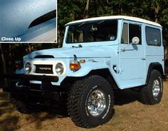 Toyota Landcruiser Durabak'd inside out with light blue and white Fj Cruiser, Toyota Land Cruiser, Truck Bed Liner Paint, Toyota Fj40, Toyota Trucks, Toyota Tundra, Ford Trucks, Classic Trucks, Classic Cars
