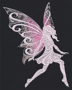 Soft lacy wings and dimensional swirl give this pretty fairy a whimsical appearance.