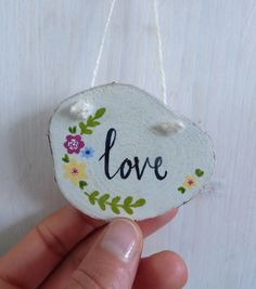 'Love' Hand Painted Wood Slice, Hanging Decoration £4.50
