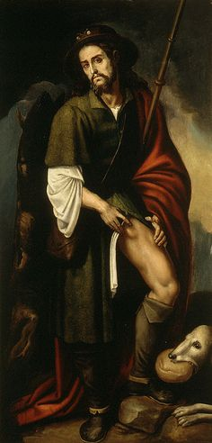 Saint of the day – August 16 – St Roch – #pinterest Patron of Potenza, Italy. Gerocarne, Italy. Invoked against: cholera, epidemics, knee problems, plague, skin diseases. Patron Saint of: bachelors, diseased cattle, dogs, falsely accused people, invalids, Istanbul, surgeons, tile-makers, gravediggers, second-hand dealers, pilgrims, apothecaries St Roch was probably born at Montpellier, France, son of the governor there. He was orphaned when he was twenty. He went on pilgrimage to Rome…