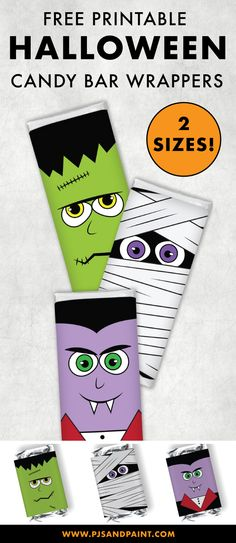 Free Printable Halloween Candy Bar Wrappers | Full Size and Mini Wrappers