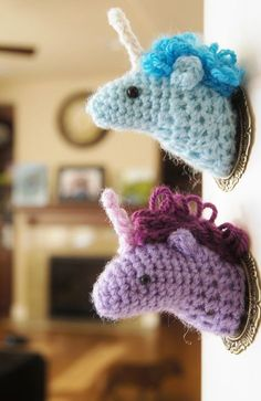 These are absolutely adorable! Amigurumi Unicorn Taxidermy Pattern. Thanks for sharing! ¯_(ツ)_/¯ ☀CQ #crochet #amigurumi