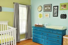 Painted Dresser Changing Table in Baby Nursery - #projectnursery #rustic