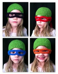 TMNT inspired hat & masks PDF crochet hat pattern by CsqDesigns