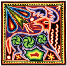 Small Huichol (Mexico) Yarn Painting by Flores Canare