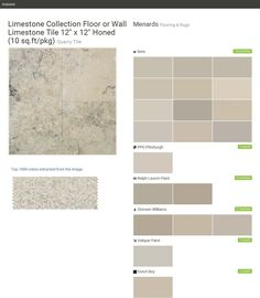 "Limestone Collection Floor or Wall Limestone Tile 12"" x 12"" Honed (10 sq.ft/pkg). Quarry Tile. Flooring & Rugs. Menards. Behr. PPG Pittsburgh. Ralph Lauren Paint. Sherwin Williams. Valspar Paint. Dutch Boy.  Click the gray Visit button to see the matching paint names."
