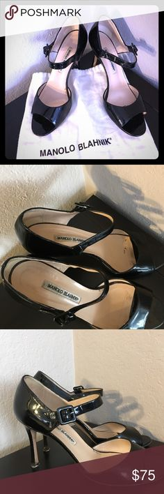 "Manolo Blahnik black patent leather shoes Size 10 Cute open toe black patent leather Manolo Blahnik shoe.  In previously loved condition with slight signs of wear.  3""Heel size 10 Manolo Blahnik Shoes Heels"